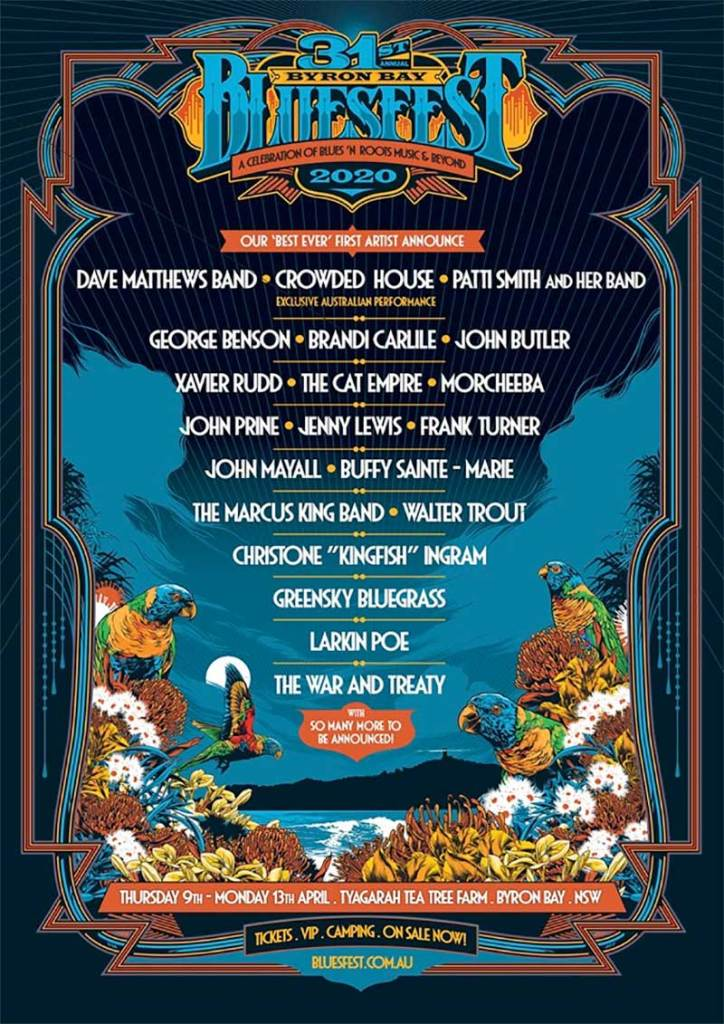 Bluesfest Byron Bay first artists poster 2020