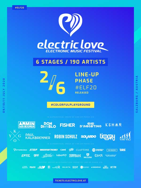 Electric Love Festival 2020 2nd phase poster