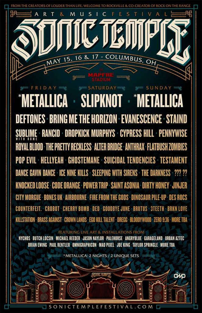 Sonic Temple Festival 2020 USA full line up poster