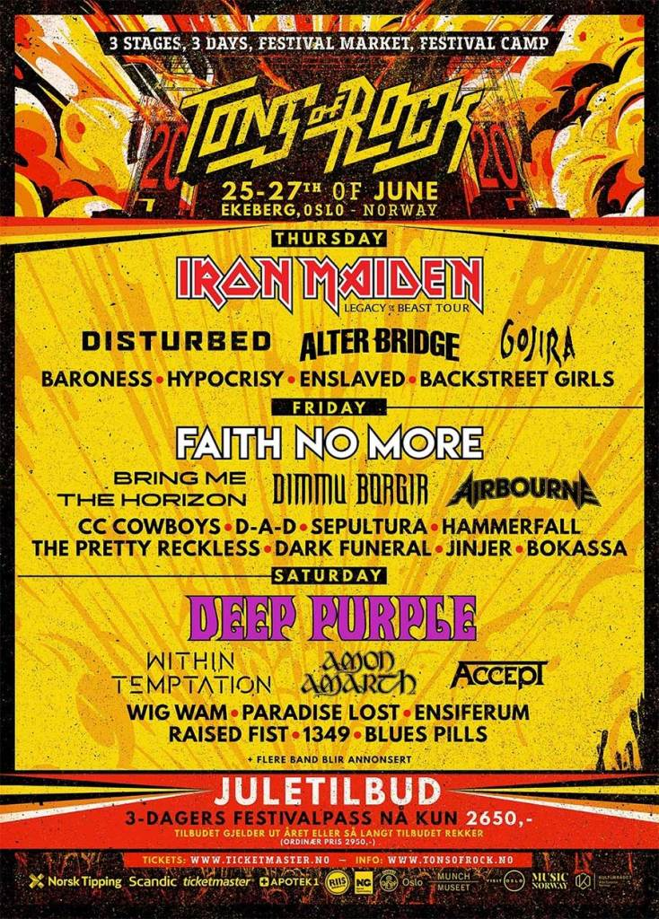 Tons of Rock Festival 2020 latest poster