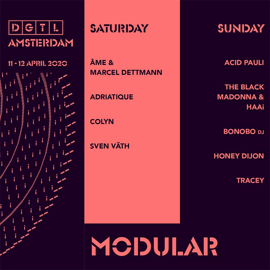 DGTL Amsterdam Modular stage daily line up poster
