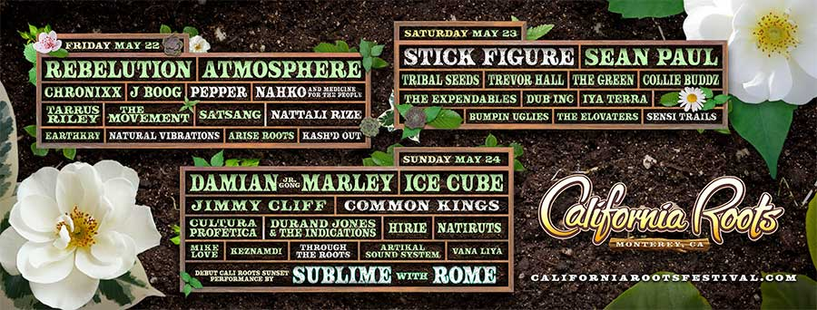 California Roots 2020 daily line ups poster