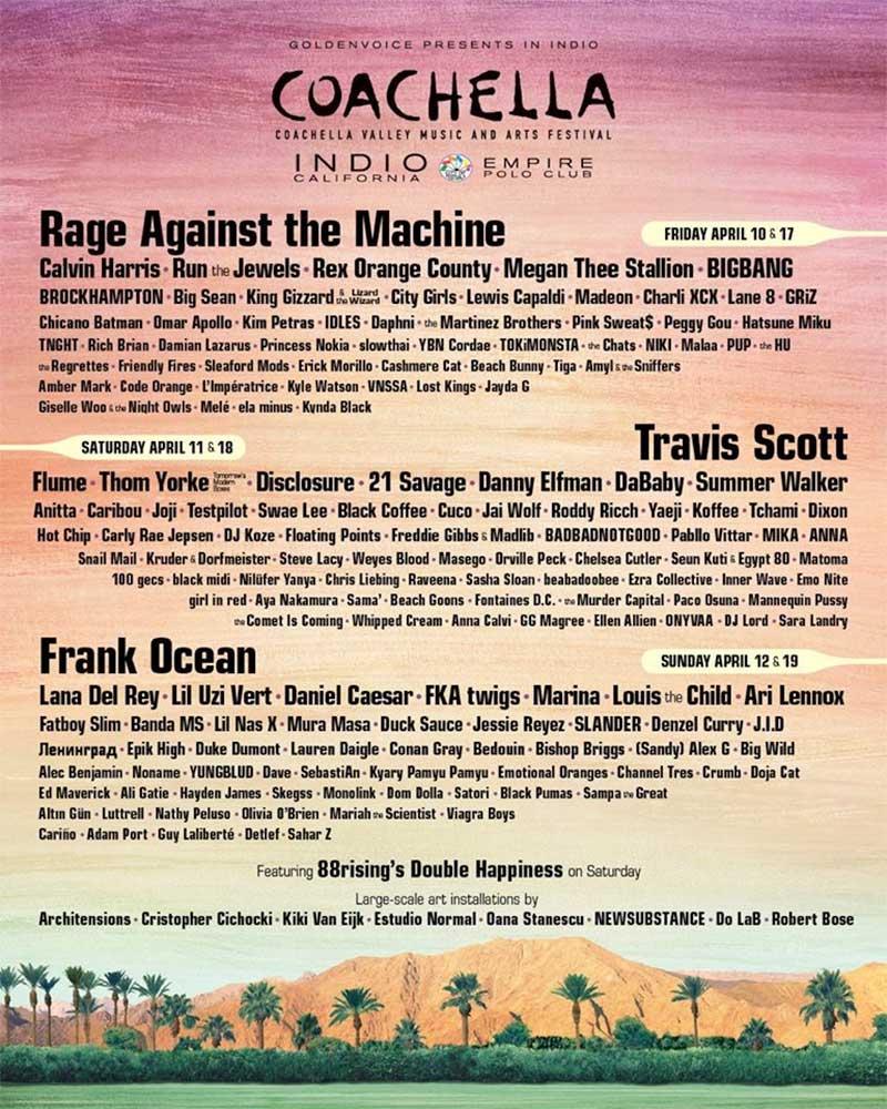 Coachella 2020 Line Up poster