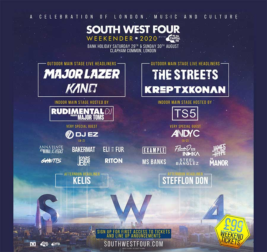 South West Four 2020 phase 1 poster