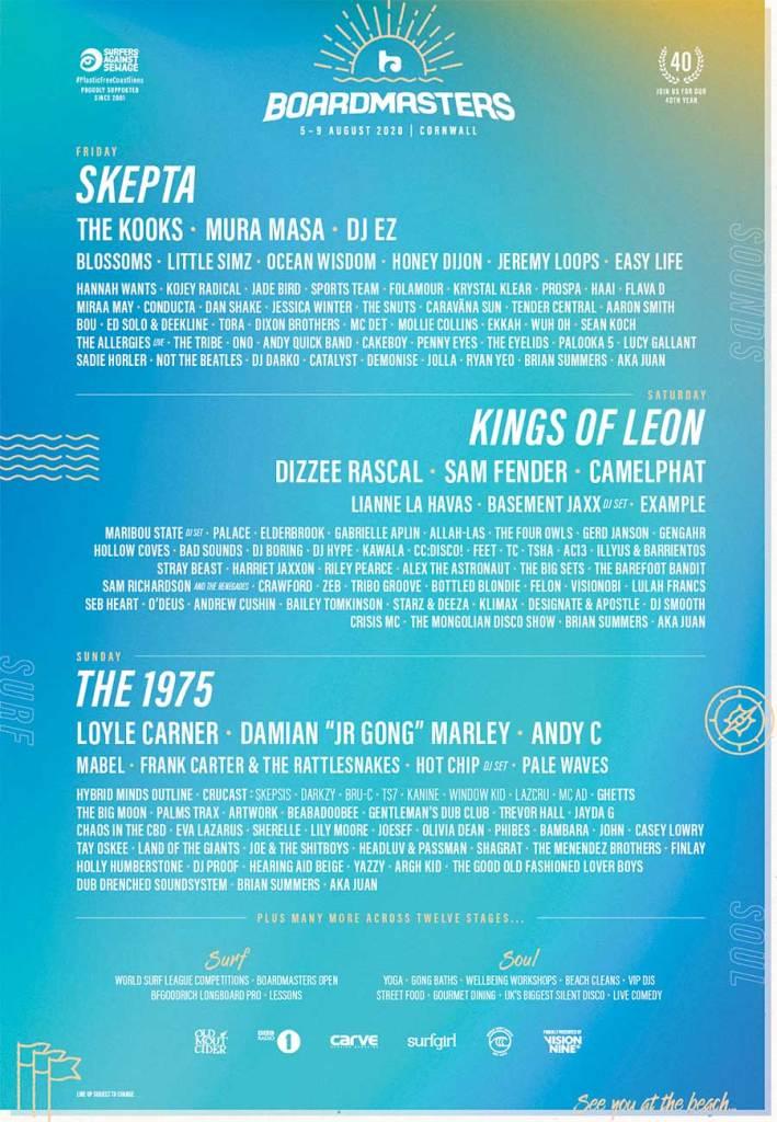 Boardmasters Festival 2020 latest poster