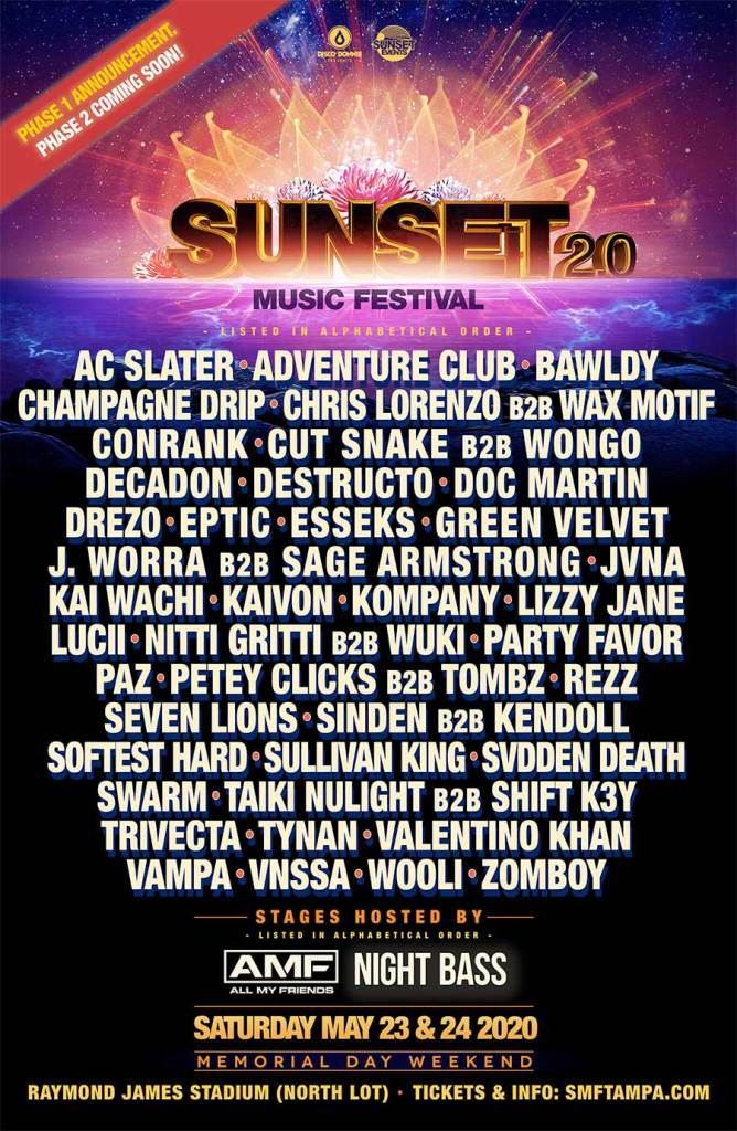 Sunset Music Festival Tampa 2020 poster