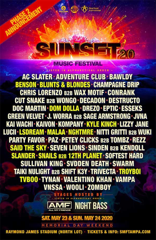 Sunset Music Festival 2020 phase 2 poster
