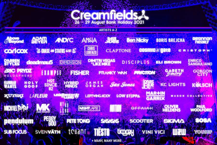 Creamfields phase 2 acts uk 2021 poster