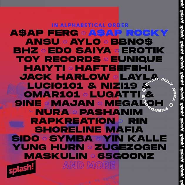 Splash Festival 2021 first acts poster