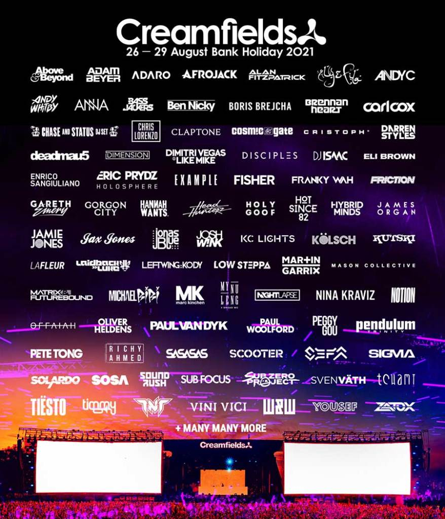 Creamfields UK 2021 new acts sept poster