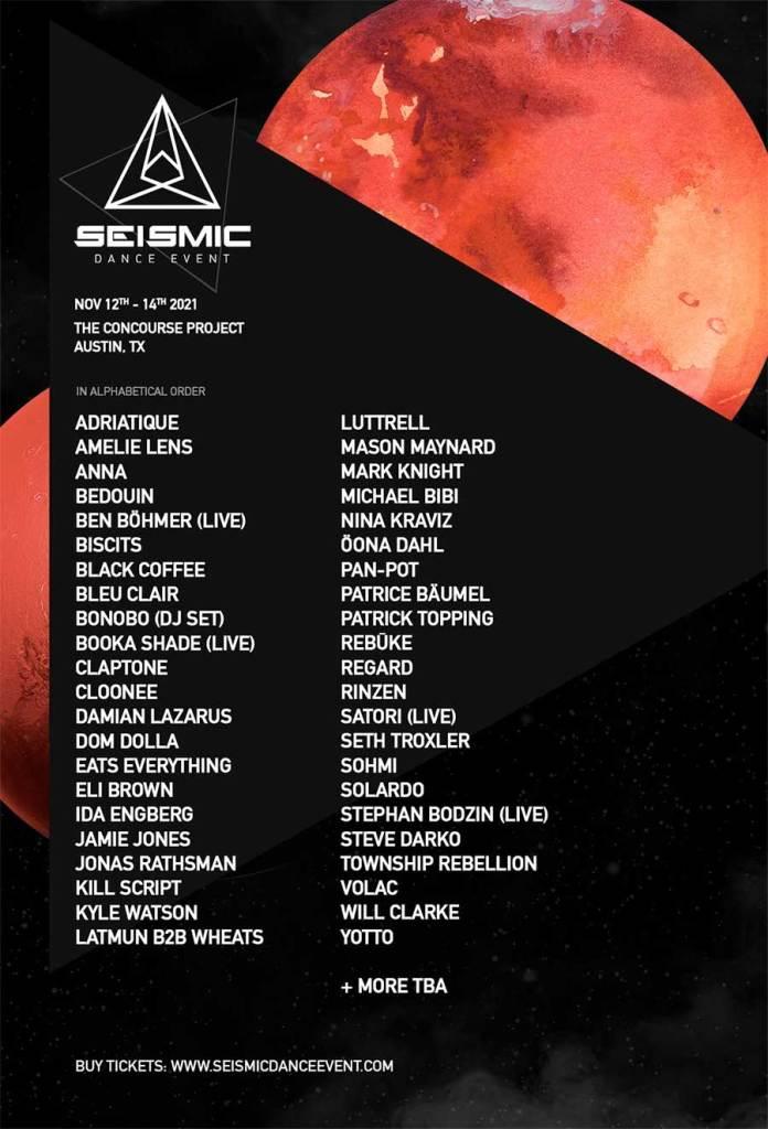 Seismic Dance Event Texas 2021 poster