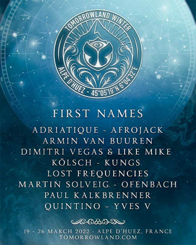 Tomorrowland Winter 2022 first acts poster