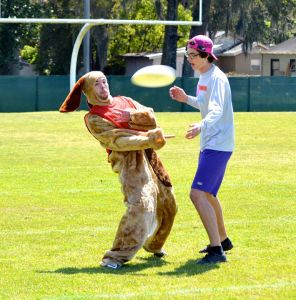 Throwing Frisbee in Dog Suit Funny