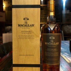 Macallan Edition 1 first whisky in Macallan's limited-edition No. 1 is a combination of whiskies matured in European and American oak casks.