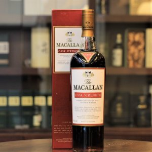 Macallan Cask Strength. This Macallan is bottled at original cask strength without chill filtration or the addition of water.