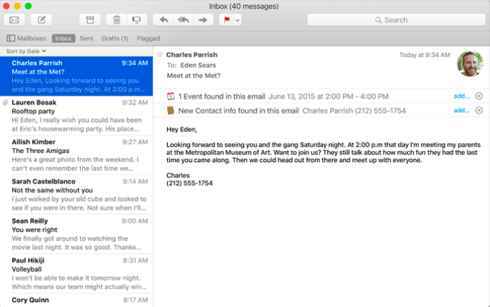 A screenshot of the improved Mail app. Photo by Apple.