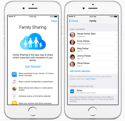 ICloud's Family Sharing service. Photo by Apple.