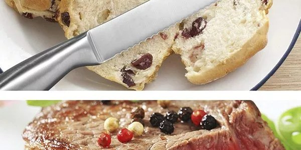 Knives cutting bread & meat