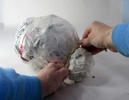 Paper Mache Clay Snowman, Step 1