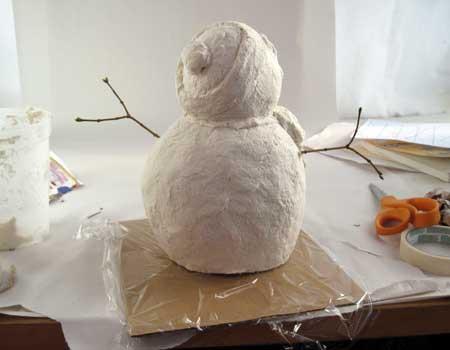 Paper Mache Clay Snowman, Step5