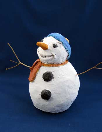Paper Mache Clay Snowman, Finished
