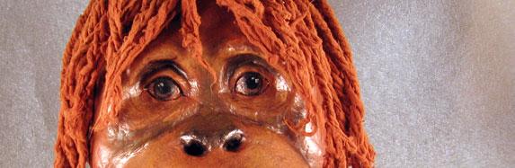 Paper Mache Orangutan Mask