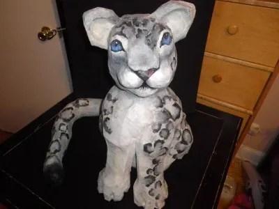 Paper Mache Snow Leopard