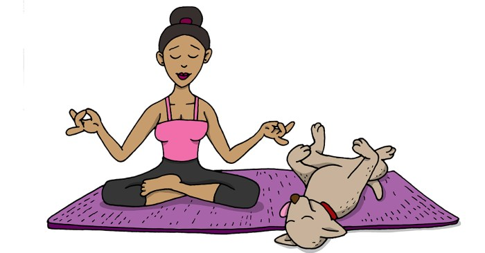 puppy sleeping while woman meditates