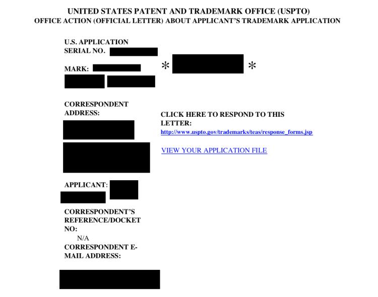 Example USPTO trademark office action header information.
