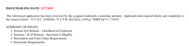 Example USPTO trademark office action summary of issues.