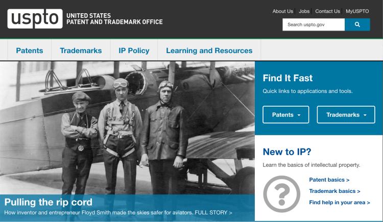 USPTO home page.