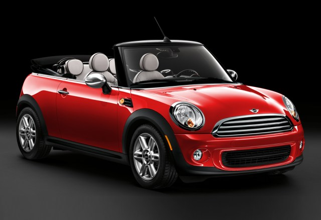 A Cooper Convertible in Spice Orange, complete with fog lights.