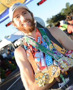 Mike has collected a lot of medals in his running career.