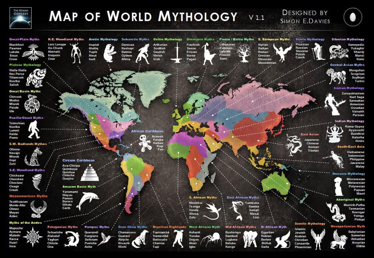 Map of World Mythology by Simon Davies