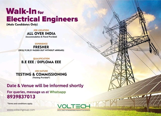 Walk In Interview  VolTech Hiring Fresher BE BTech Diploma Electrical Electronic Engineer