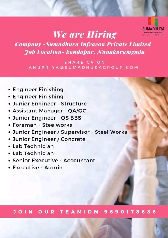Sumadhura Infracon Pvt Ltd Hiring|BE BTech| Diploma |Civil Engineer