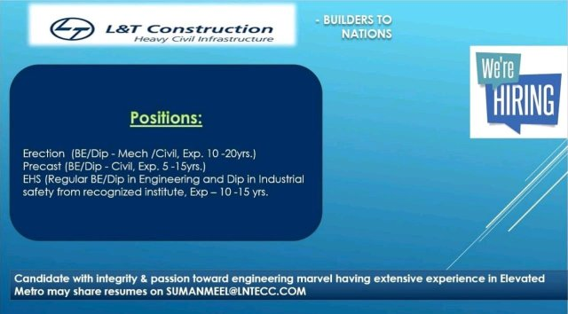 L&T Construction Limited Hiring BE BTech Diploma  Civil Engineer