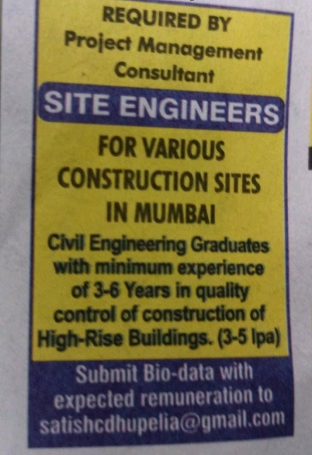 Job Openings For  BE BTech  Civil Engineer