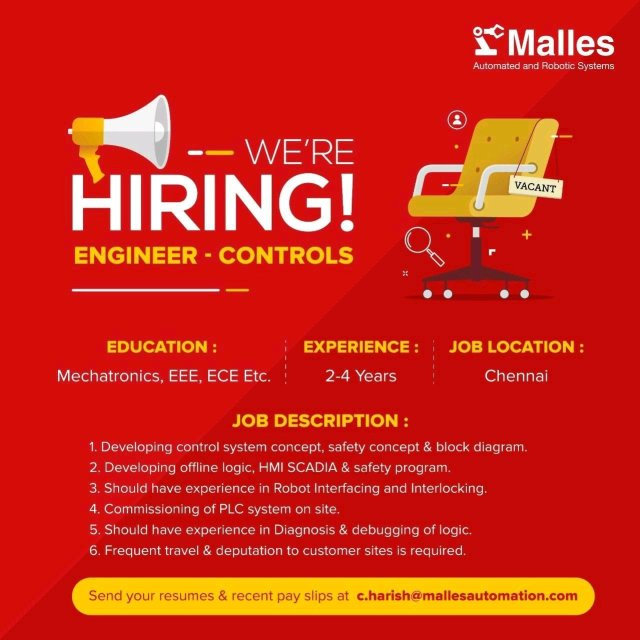 Malles Automation Pvt Ltd Hiring|BE BTech|Electrical| Electronic| Mechatronics Enginee
