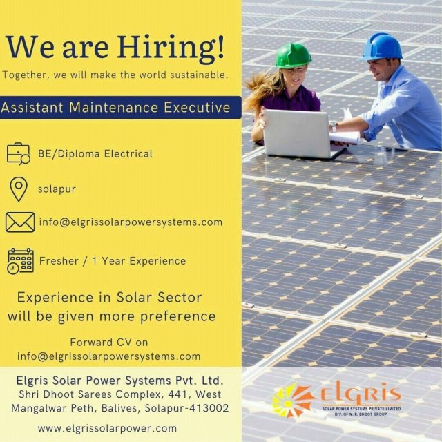 Elgris Solar Power Systems Pvt Ltd Hiring Fresher BE BTech  Diploma Electrical Engineer