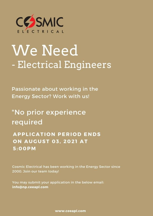 Cosmic Electrical India Pvt Ltd Hiring  Fresher BE BTech  Electrical Engineer