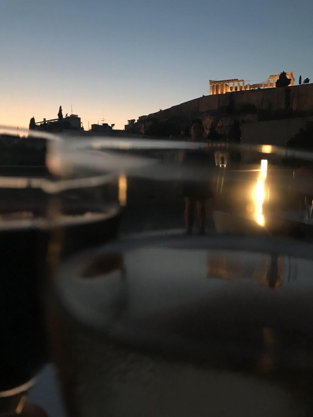 A vista do rooftop do Museu Acrópolis