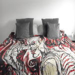 Duvet cover with all-over graphic design, adapted from the artist's watercolor painting.