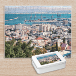 Puzzle. Photo of buildings and the seaport in Haifa, Israel.