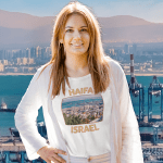 T Shirt. Photo of buildings and the seaport in Haifa, Israel.