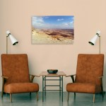 Canvas Print. Photo of Makhtesh Ramon (Ramon Crater) located beside the town of Mitzpe Ramon in Israel's Negev desert. The crater is Israel's largest national park, the Ramon Nature Reserve.