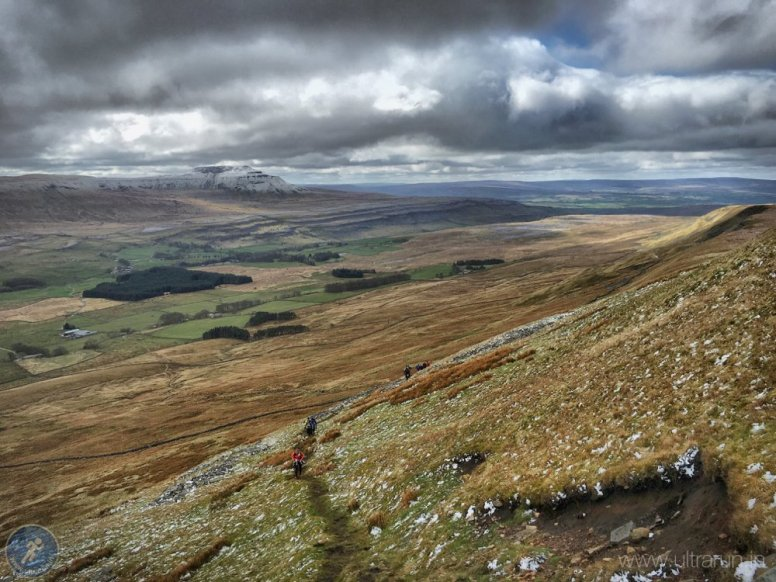 Looking back to Ingleborough on the climb up Whernside (CP3)