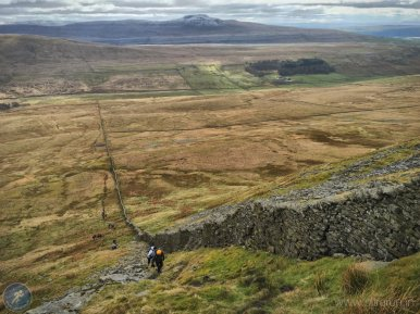Steep ascent onto Gragareth (CP5) with Ingleborough in the distance
