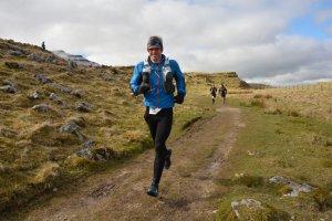 Giles descending from Ingleborough in Fellsman 2016