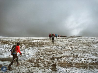 Approaching check point 1 on the summit of Ingleborough